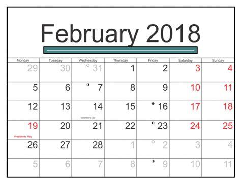 February 2018 Calendar Us With Holidays Printable