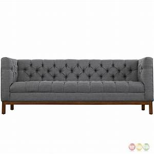panache vintage square button tufted upholstered sofa gray With tufted upholstered sectional sofa