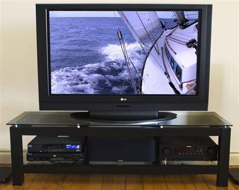 50 Inch Low Profile Flat Screen Tv Stand  Glass Shelf In
