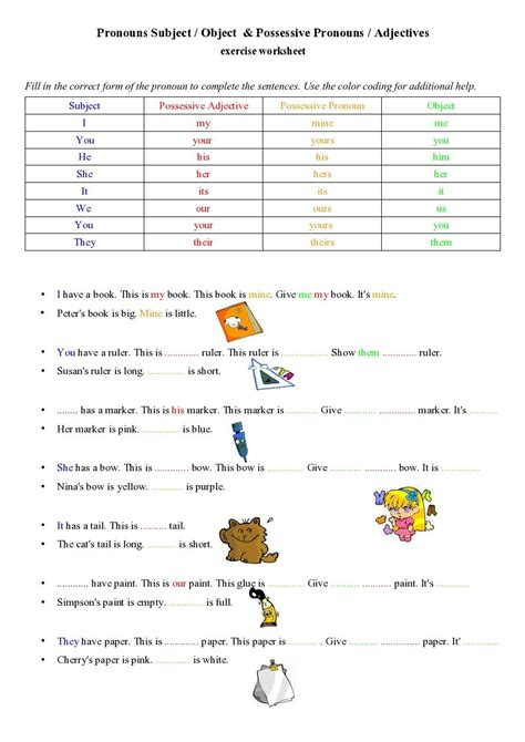 possessive pronoun worksheets