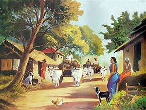 Image detail for -Indian Village Scene - Reprint on Paper ...