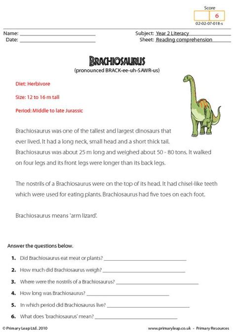 reading comprehension brachiosaurus non fiction primaryleap co uk