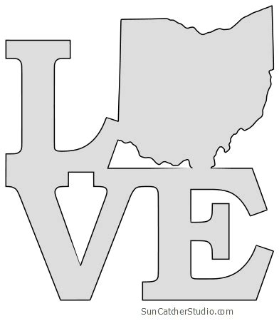 ohio map outline printable state shape stencil pattern