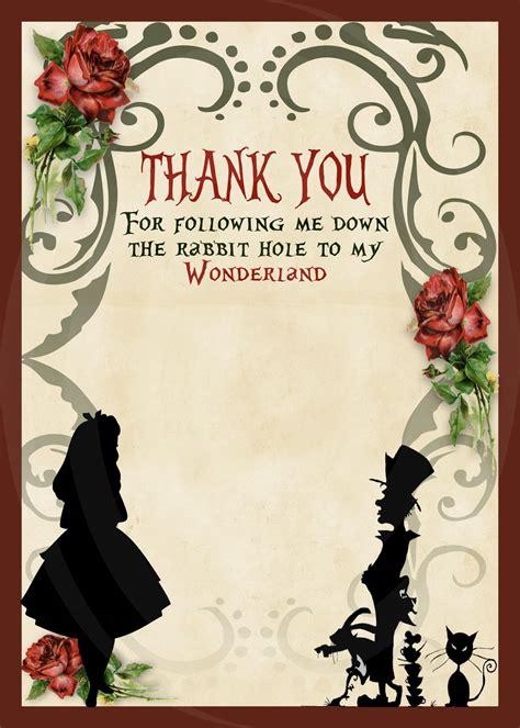 alice  wonderland birthday party invitation silhouette