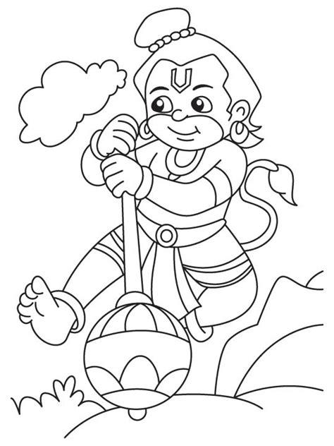hanuman ji  cloud coloring page   hanuman