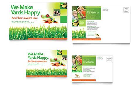 lawn maintenance postcard template design