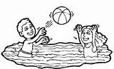 Swimming Coloring Pool Volleyball Colouring Colornimbus Drawings Template sketch template