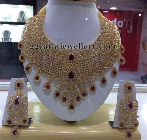 diamond  heavy cz bridal set jewellery designs