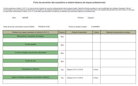 modèle fiche de pénibilité 1 one logiciel de p 233 nibilit 233 au travail suivi des