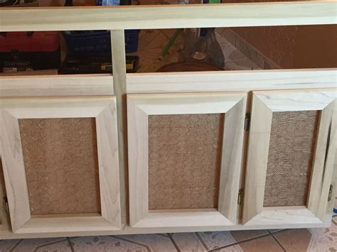 Cabinet Door Ideas by Diy Cabinet Door Used Burlap And Chicken Wire For A More