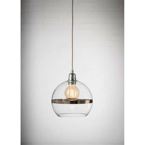 mini clear glass ceiling pendant shade with platinum stripe