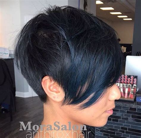 stylish haircuts for hair blue black pixie cut pixie cortes pixie 2537