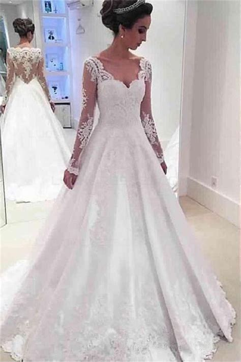 long sleeves lace wedding dresses bridal gowns
