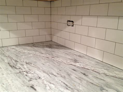 grout kitchen backsplash white subway tile backsplash done keeps on ringing
