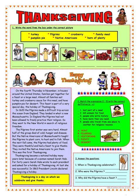 thanksgiving short history vocabulary worksheet