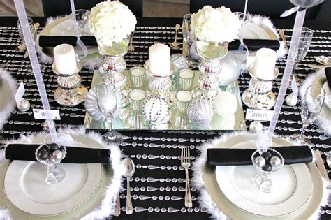 black white silver holiday table celebrations  home