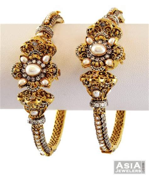 22k exclusive antique kadas 1 pc only asba56655 22k gold designer kadas 2 pcs shown in