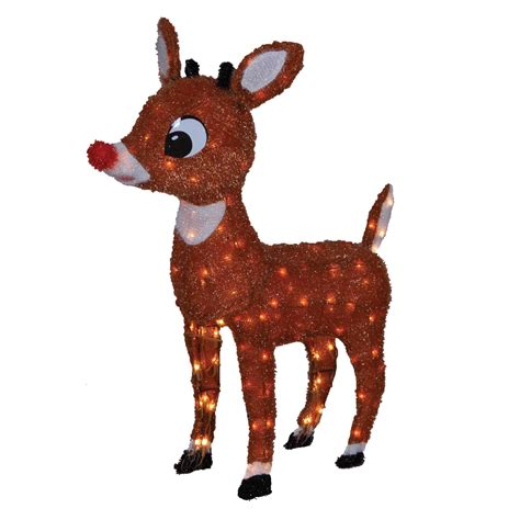 Rudolph Outdoor Decorations - 42 quot 150 light soft tinsel rudolph decoration