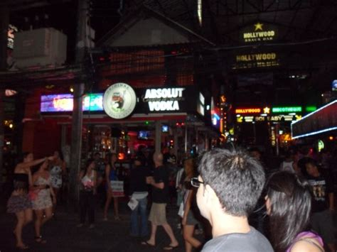 Bangla Street in Phuket, Thailand. This is a red light ...