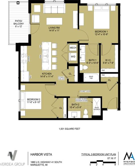One Bedroom Unit Layout by Unit Layouts The Residences At Harbor Vista High End