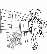 Shopping Coloring Pages Cart Adult Printable Getcolorings Illustration sketch template