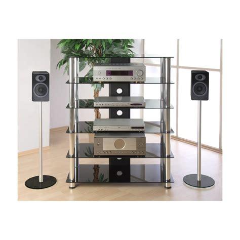 siege massant meuble hifi design en verre noir 113 cm