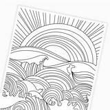 Coloring Waves Ocean Sunset Printable Printables Digital sketch template