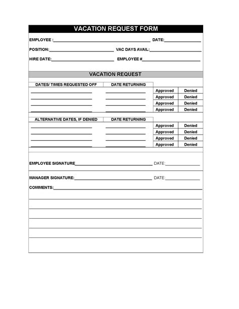 employee leave vacation request form sles exles pdf