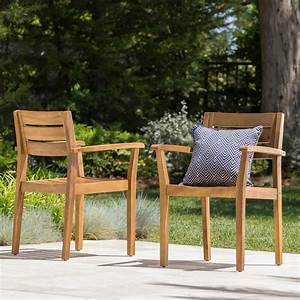 Noble, House, Teak, Brown, Slatted, Wood, Outdoor, Dining, Chair, 2-pack, -300518