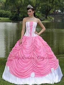 2013 Exquisite Pick-ups Rose Pink and White Sweet 16 Dress ...