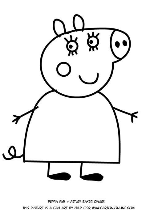 disegni da colorare e stare peppa pig disegno di mamma pig da colorare