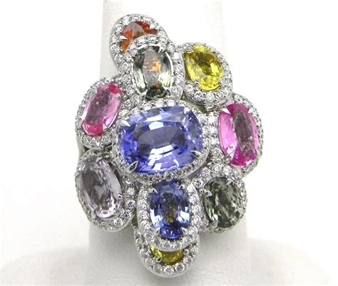 ladies  white gold  cts multi colored sapphire