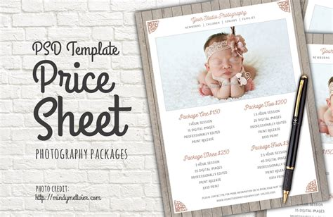 photography packages price list psd templates