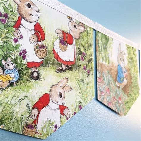 rabbit beatrix potter book banner party banner baby etsy