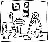 Bathroom Clipart Cleaning Coloring Clip Clean Room Sink Cleaner sketch template