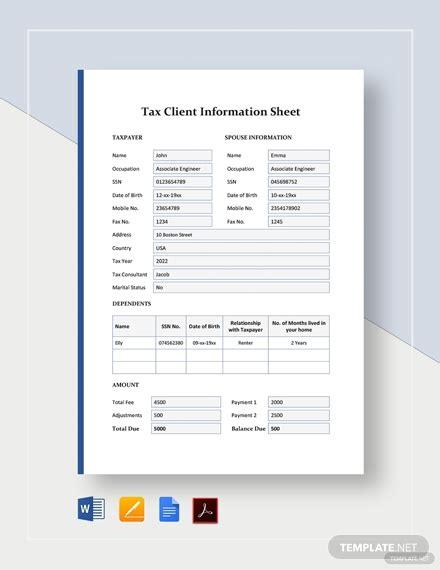 tax client information sheet template word google docs