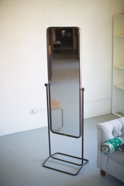 tall metal framed floor mirror  stand