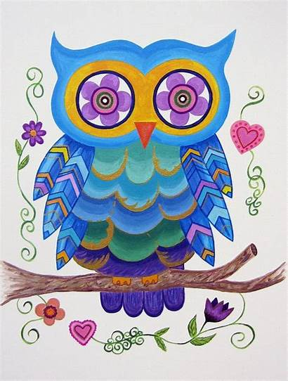 Owl Wall Whimsical Painting Nursery Paintings Modern