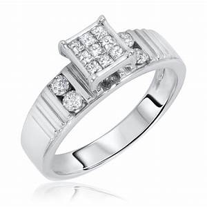 1 2 carat tw diamond women39s engagement ring 14k white With womens wedding rings white gold