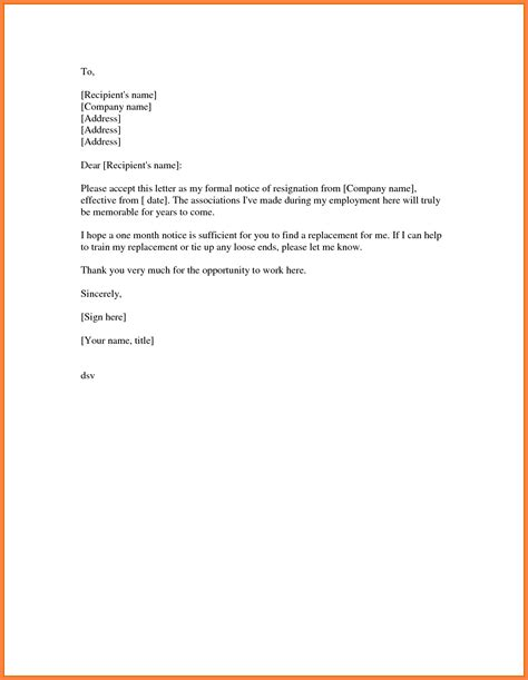 sample resignation letter month notice notice letter