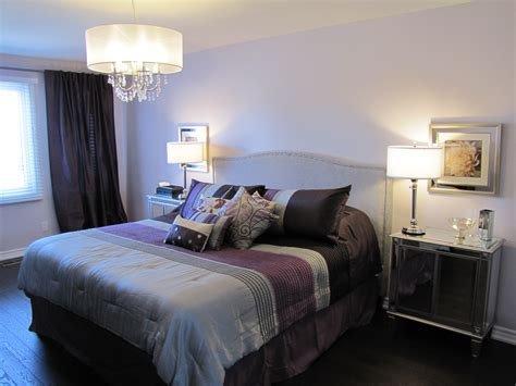 Simple Comfortable Gray And Purple Bedrooms Of Appealing