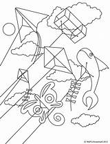 Kite Coloring Pages Flying Printable Kites Colorir Para Pipas Template Getcoloringpages Results sketch template