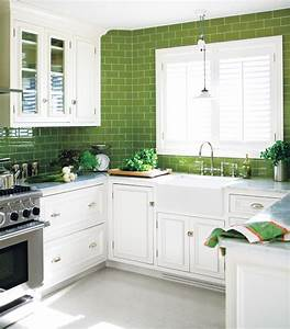 green subway tile kitchen design ideas With kitchen colors with white cabinets with green glass candle holder
