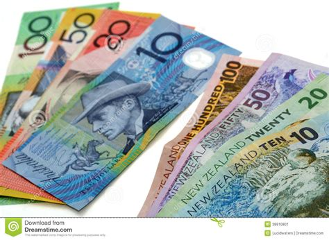 foreign exchange nz australian and new zealand dollar banknotes stock photo