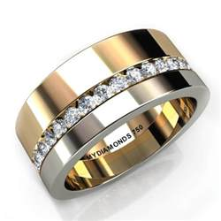 Two Tone Wedding Rings with Diamonds