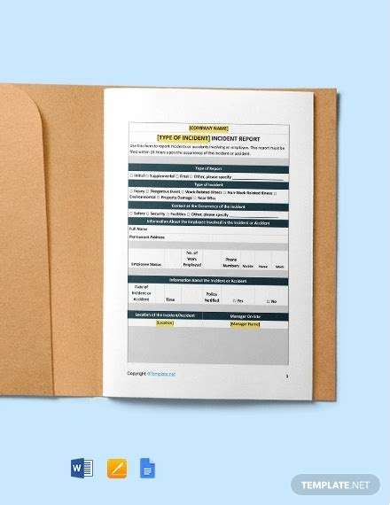 construction incident report template   word