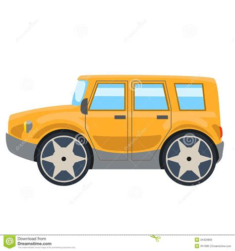 yellow jeep clipart illustration of yellow off road car side stock