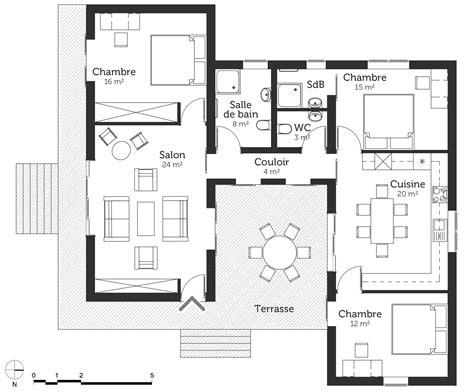 plan maison 100 m à toit plat ooreka