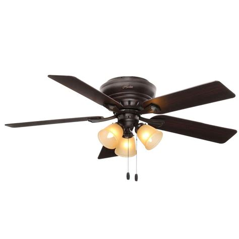 hunter low profile ceiling fan with light hunter reinert 52 in indoor low profile premier bronze