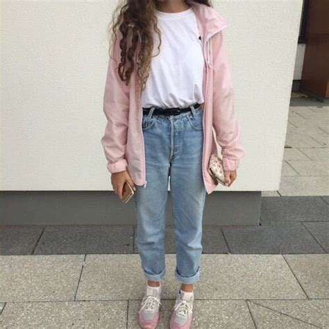 Aesthetic bambi clothes girl grunge jeans light pale pastel pink soft white mmilkeu ...